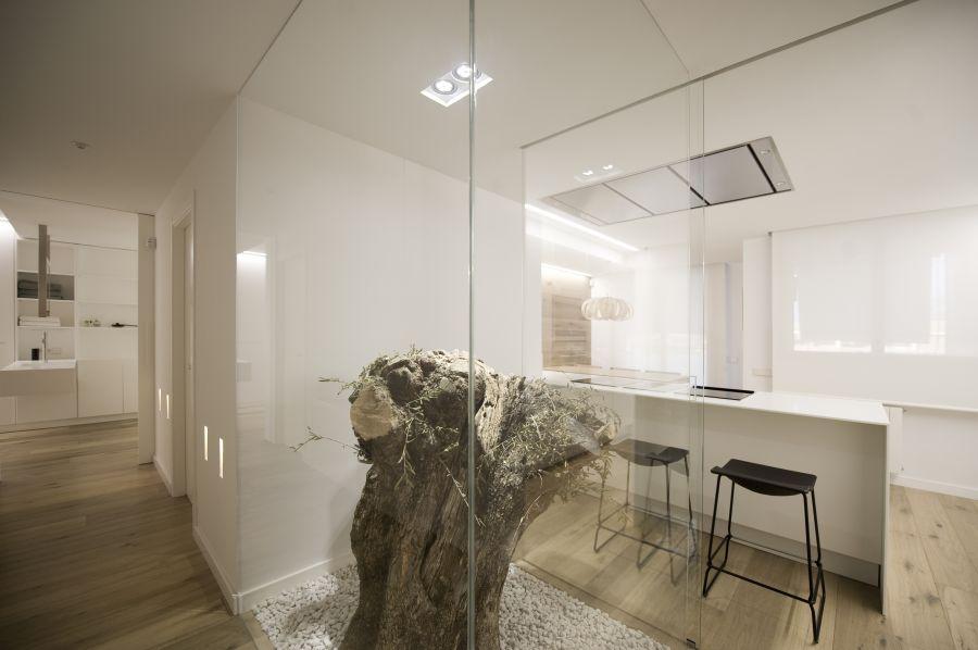 Separador o divisor de espacios o ambientes de cristal o vidrio en oficina