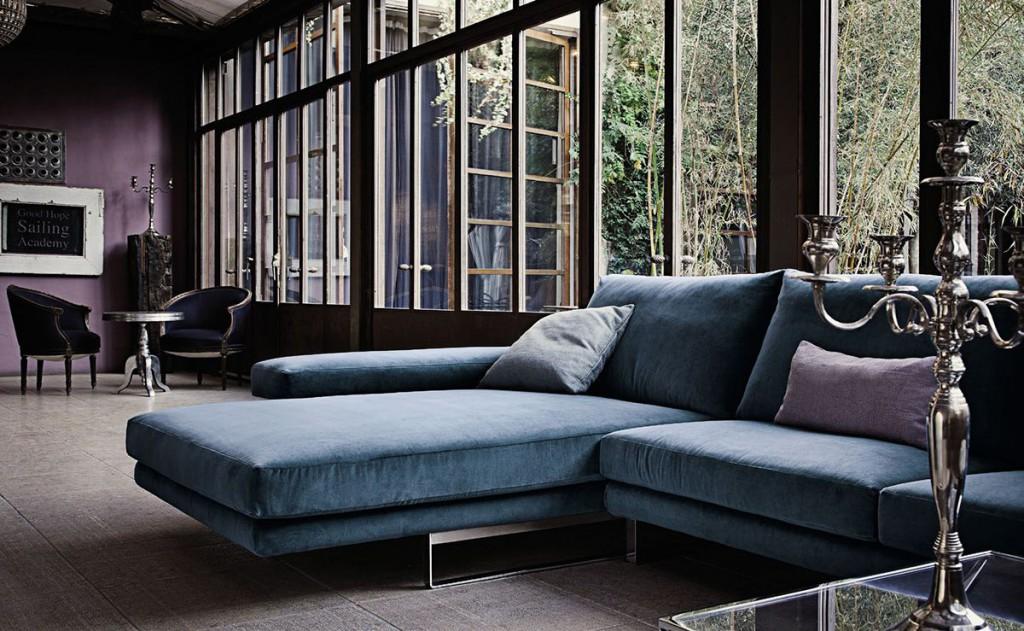 sofa chaise longe azul