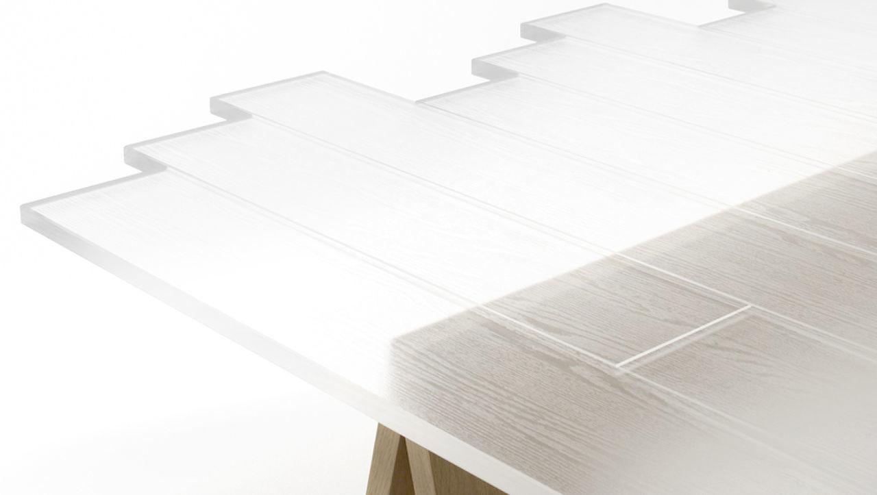 madera transparente mesa