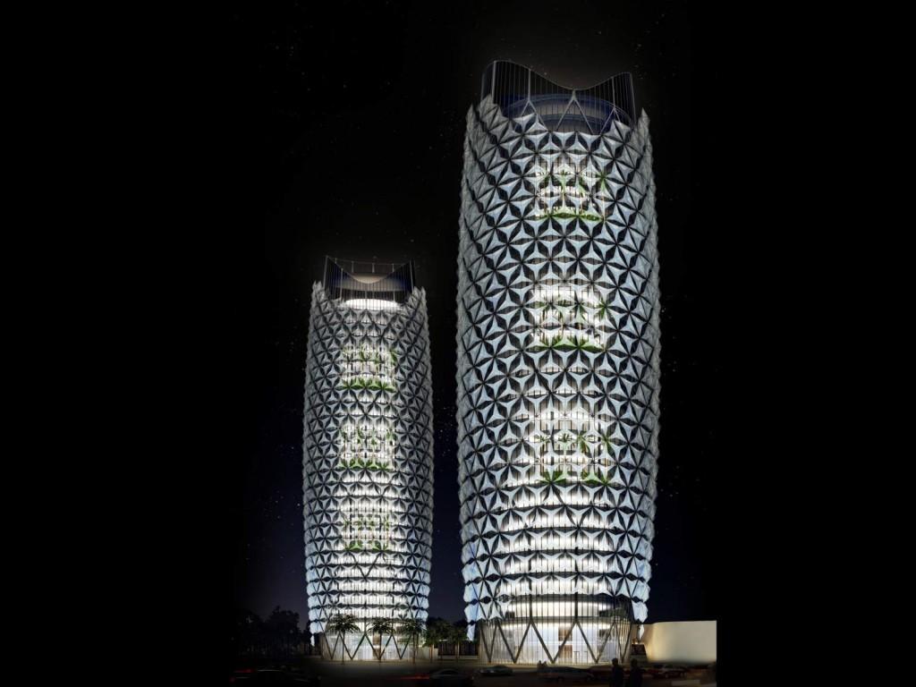 torres al bahar de noche