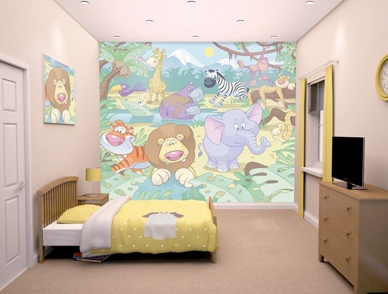 fotomural-infantil-animales-de-la-selva-dibujo-infantil
