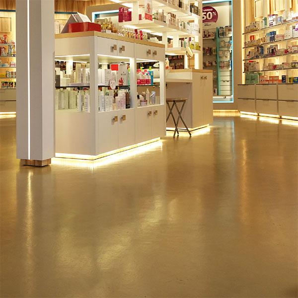 suelo microcemento farmacia
