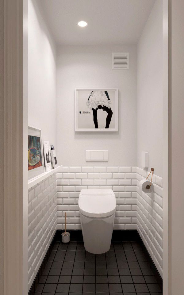 trucos para decorar baños mini blanco y negro