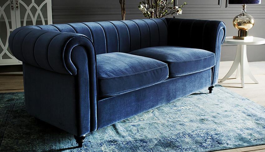 sofás terciopelo azul
