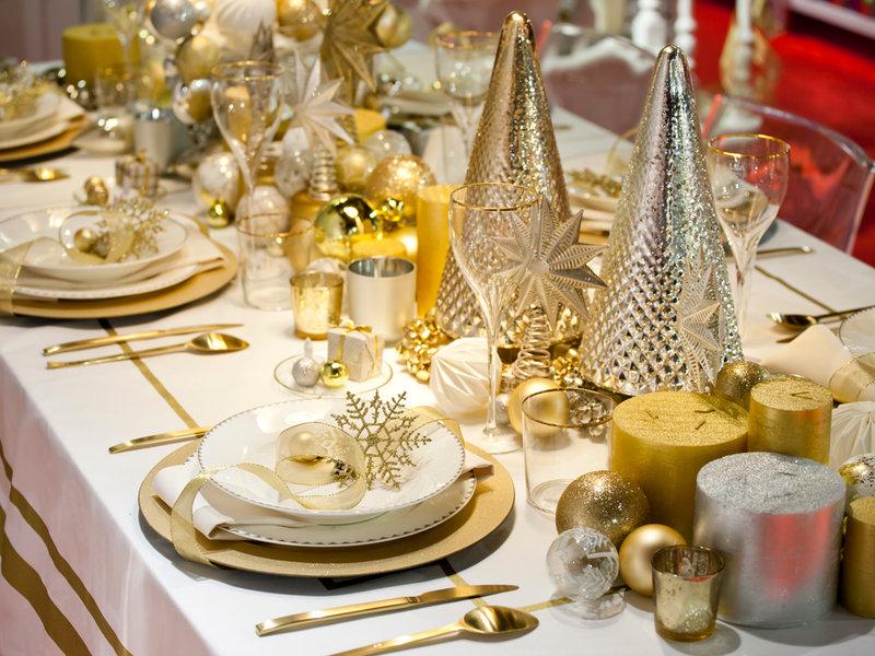 mesas navideñas oro