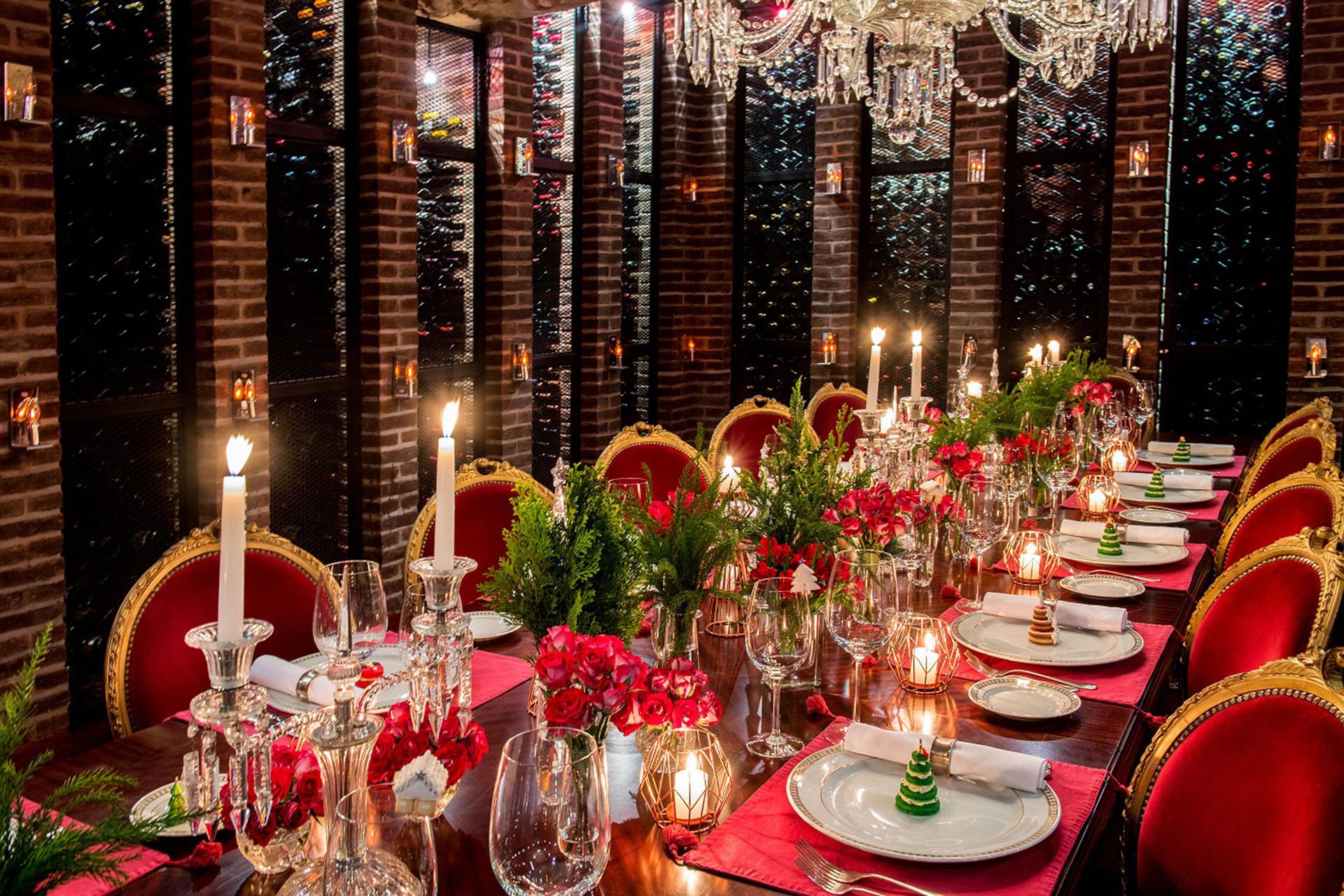 mesa navidad roja